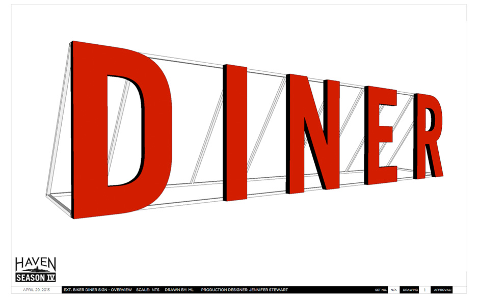 diner sign drawing