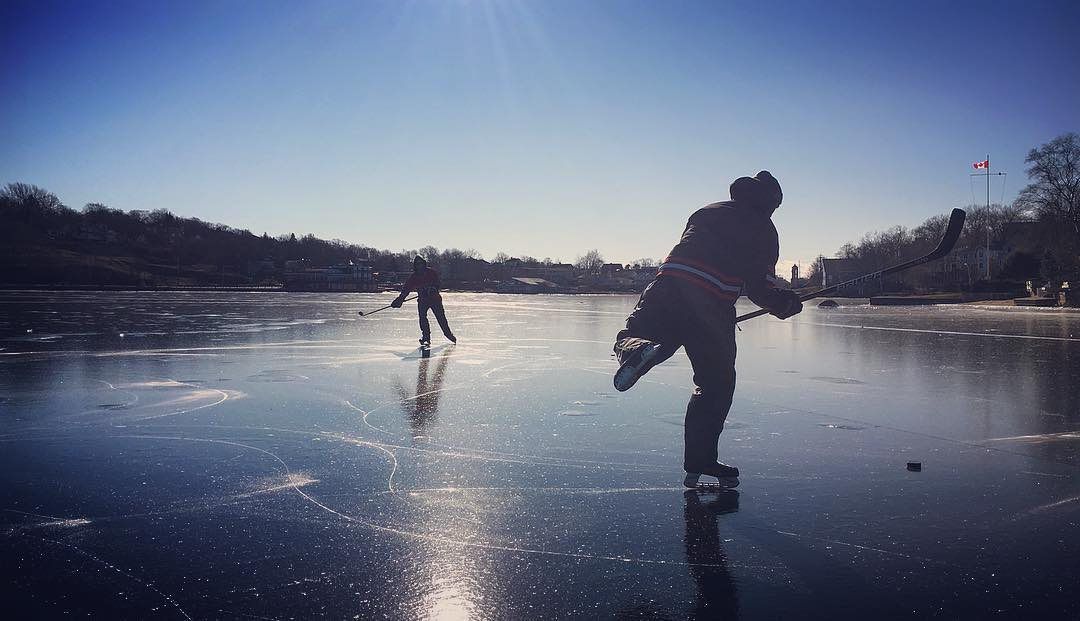 instagram: best pond hockey conditions ever on lake banook today