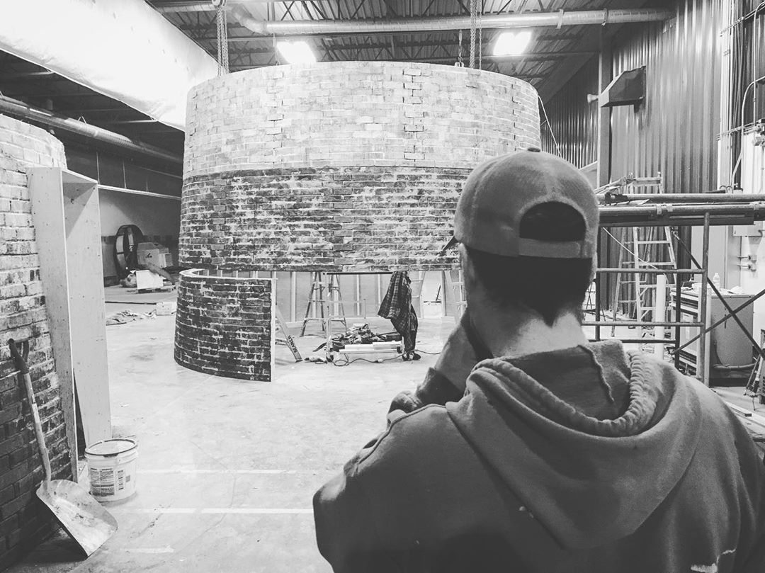 instagram: @kevinlewisart eyeing the first few layers of the lighthouse as the scenic team worked on the brick finish. 😚👌 #thelighthouse #scenicpainting #artdirector #artdirection #tiff #setdesign #setdesigner #setconstruction #setbuilding #artdepartment