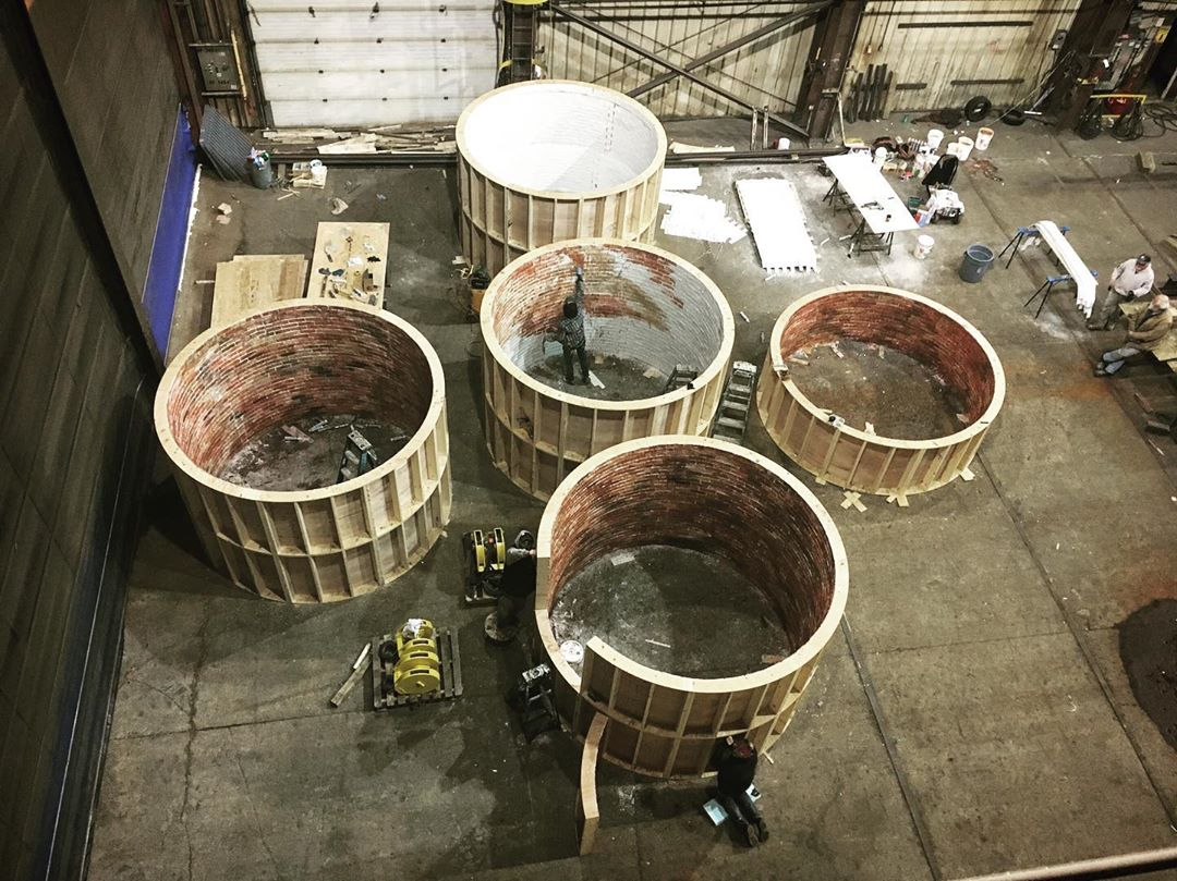 instagram: Sections of the interior lighthouse being painted before they were stacked on top of each other to create the stair tower. #thelighthouse #artdirector #artdirection #tiff #setdesign #setdesigner #setconstruction #setbuilding #scenicpainting #artdepartment #nsfilmjobs
